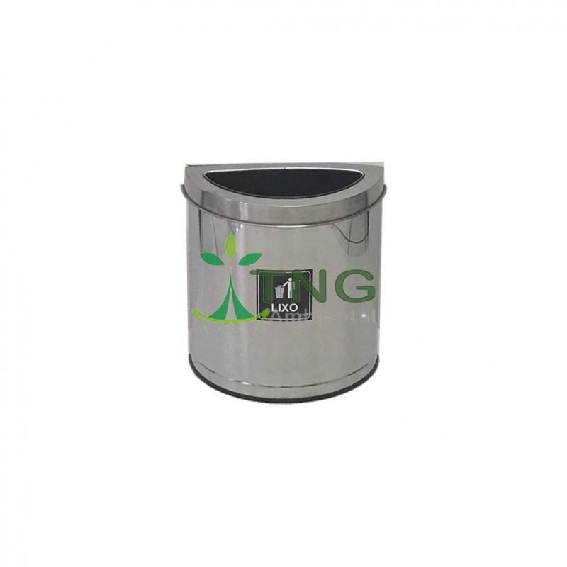 Lixeira 25 litros em aço inox no formato meia-lua