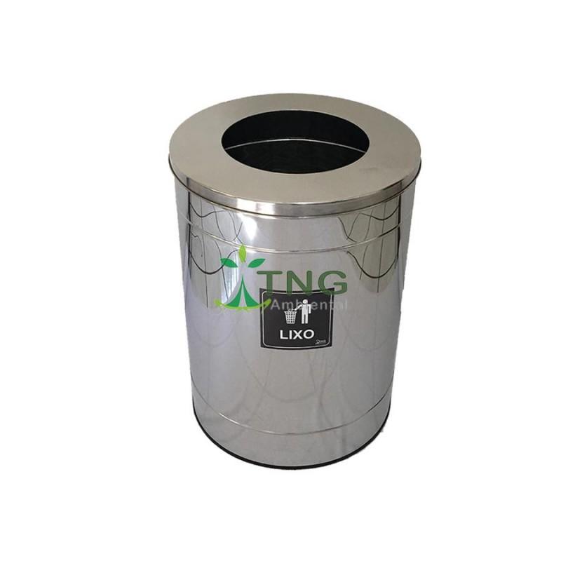 Lixeira 100 litros em aço inox com aro