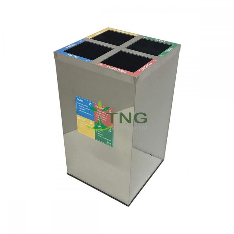 Lixeira 100 litros em aço inox com quatro divisórias