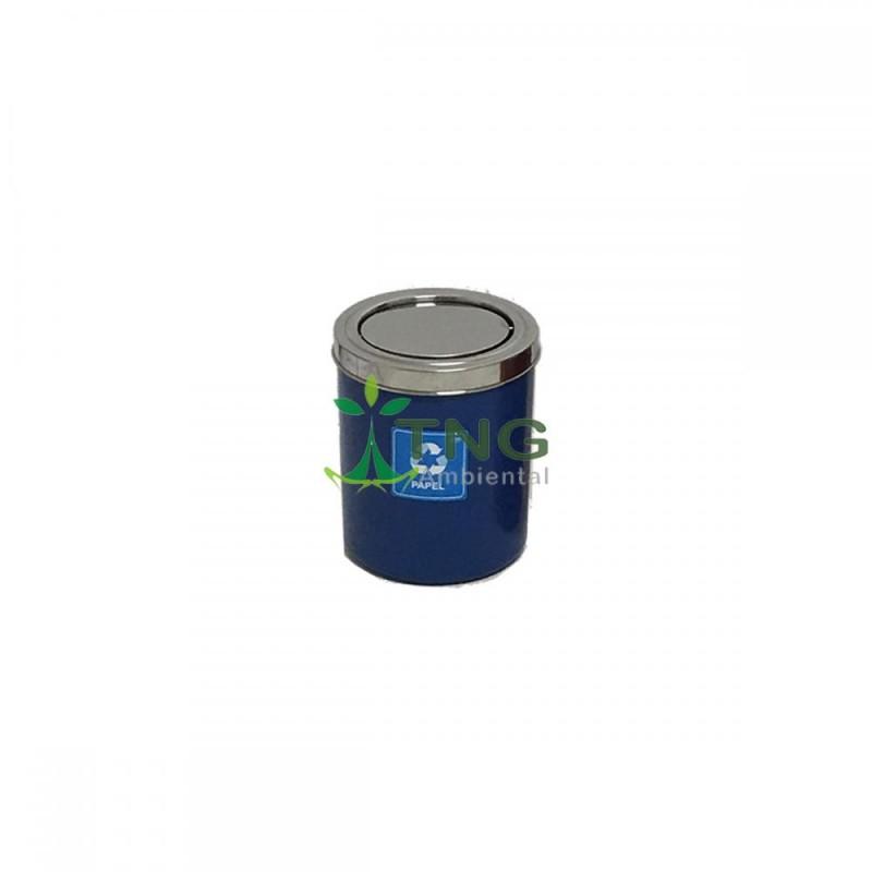 Lixeira 15 litros em plástico com tampa flip-top em aço inox