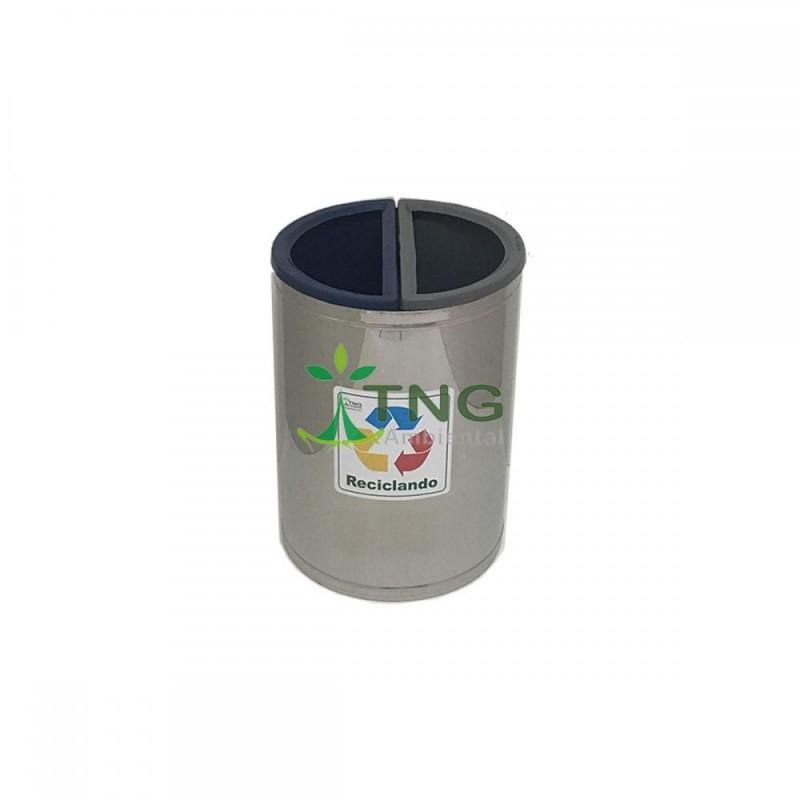 Lixeira 50 litros em aço inox com duas divisórias