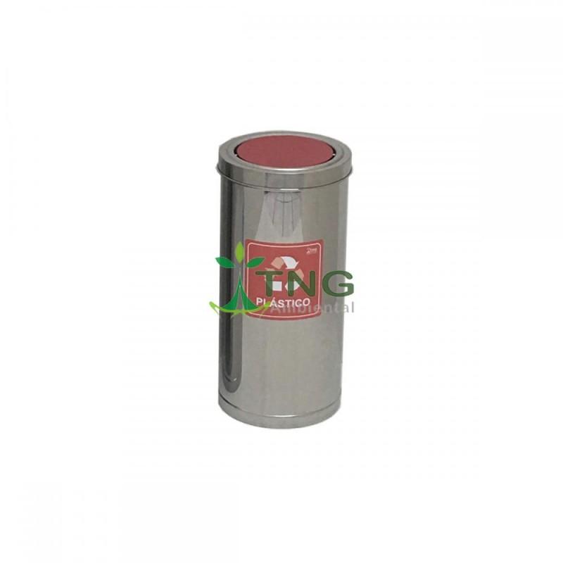 Lixeira 32 litros em aço inox com tampa flip-top colorida