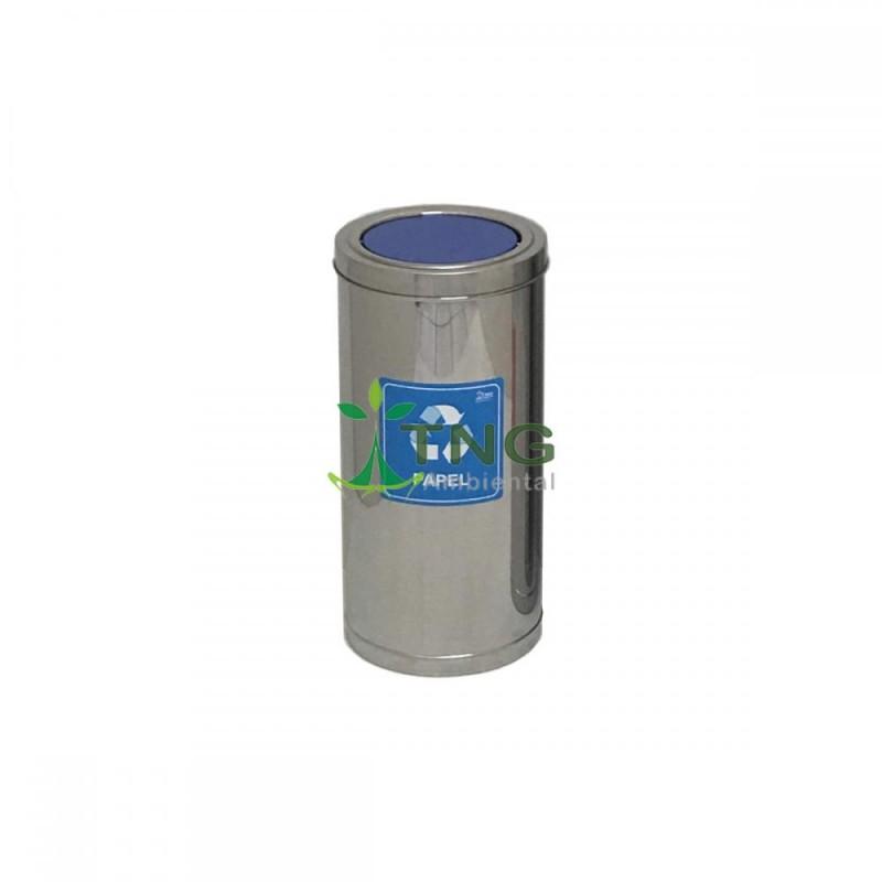 Lixeira em aço inox 75 litros com tampa flip-top colorida