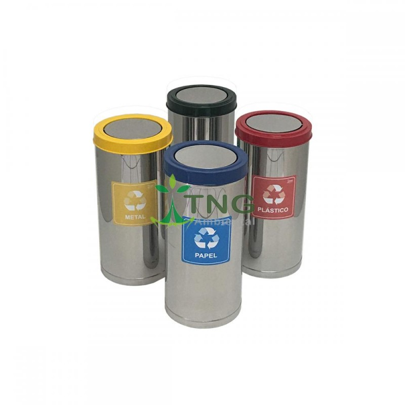 Lixeira 15 litros em aço inox com tampa flip-top colorida