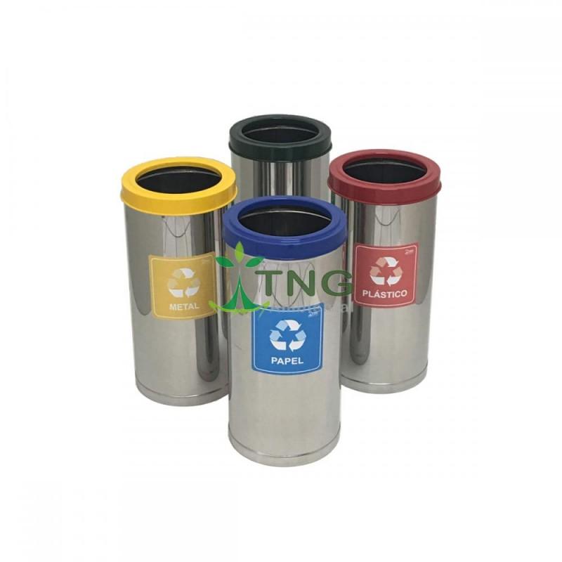 Lixeira 32 litros em aço inox com aro colorido