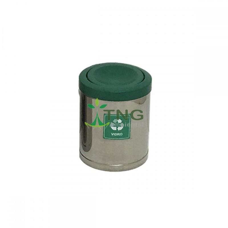 Lixeira 15 litros em aço inox com tampa flip-top plástica