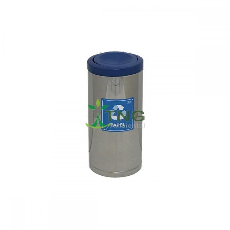 Lixeira 32 litros em aço inox com tampa flip-top em plástico