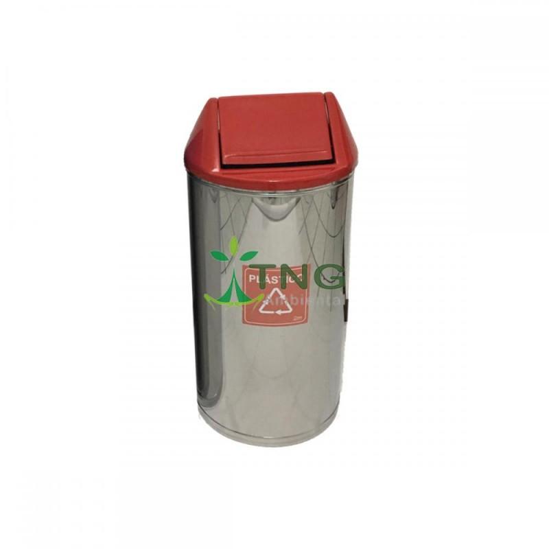 Lixeira 50 litros em aço inox com tampa vai-vem em fiberglass