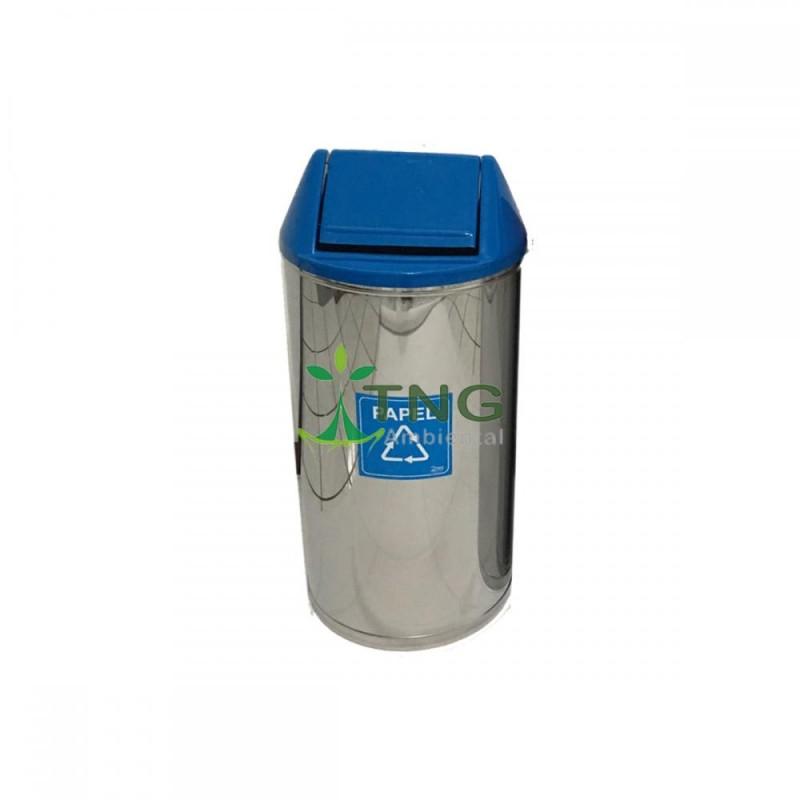 Lixeira 80 litros em aço inox com tampa vai-vem em fiberglass