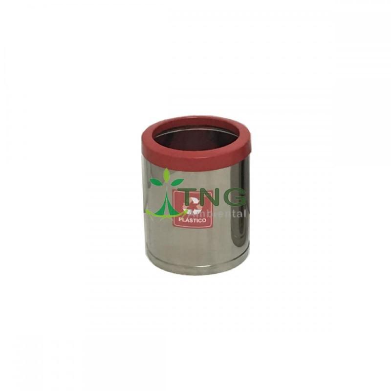 Lixeira 15 litros em aço inox com aro em plástico