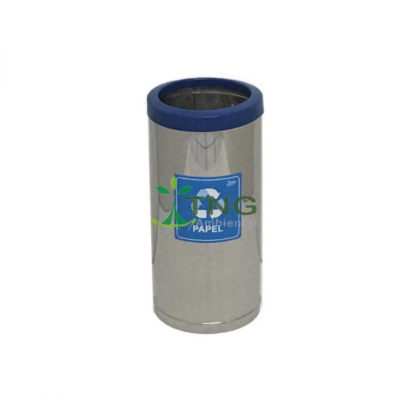 Lixeira 32 litros em aço inox com aro em plástico
