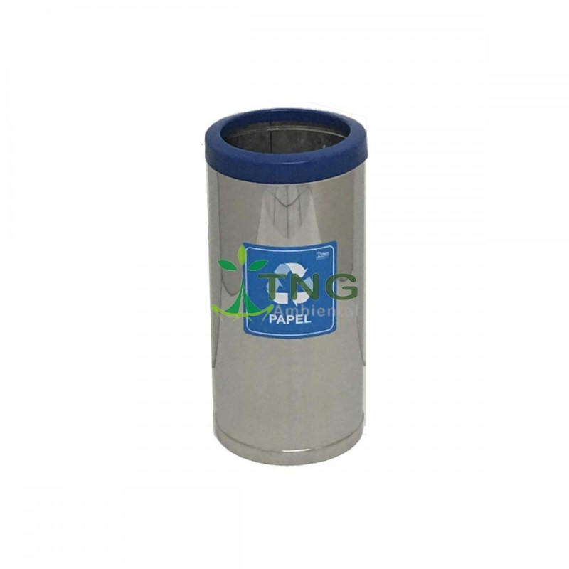 Lixeira 50 litros em aço inox com aro em plástico