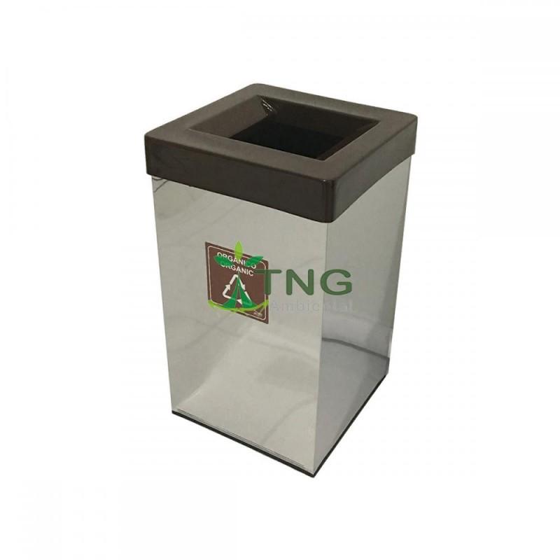 Lixeira 100 litros em aço inox quadrada com aro em fiberglass