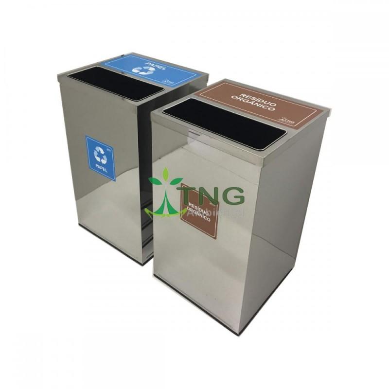 Lixeira 100 litros em aço inox quadrada com tampa meia-aberta