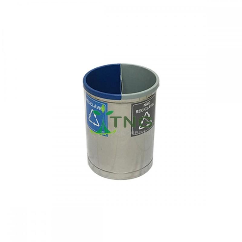 Lixeira 30 litros em aço inox com duas divisórias