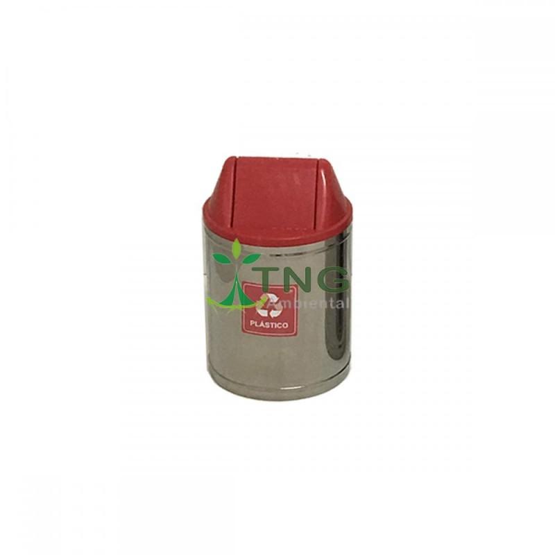 Lixeira 15 litros em aço inox com tampa vai-vem em plástico