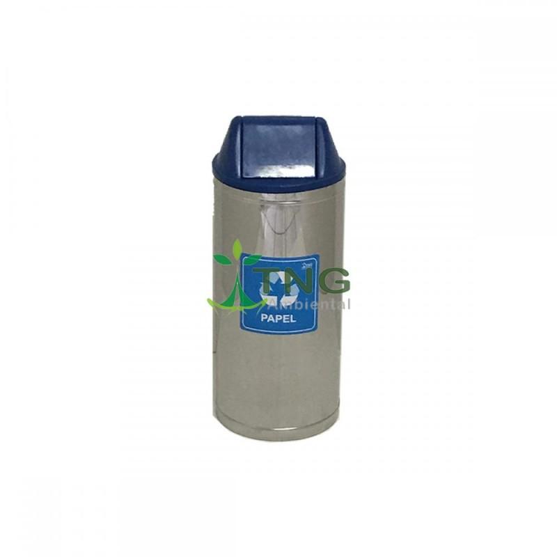 Lixeira 32 litros em aço inox com tampa vai-vem em plástico