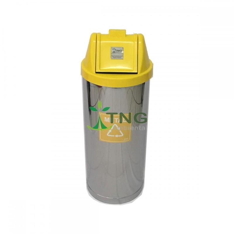 Lixeira 50 litros em aço inox com tampa vai-vem em plástico