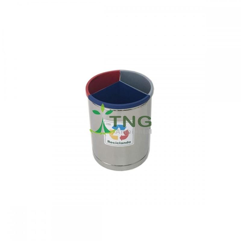 Lixeira 30 litros em aço inox com três divisórias