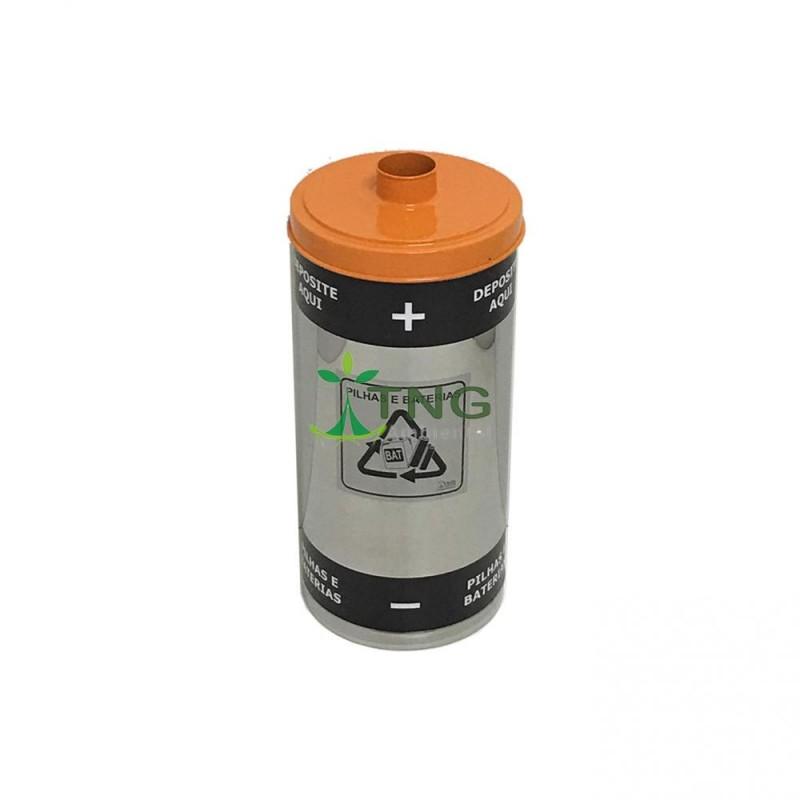 Coletor de pilhas e baterias 25 litros em aço inox