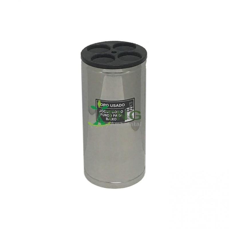 Coletor de copos em aço inox com 4 aberturas