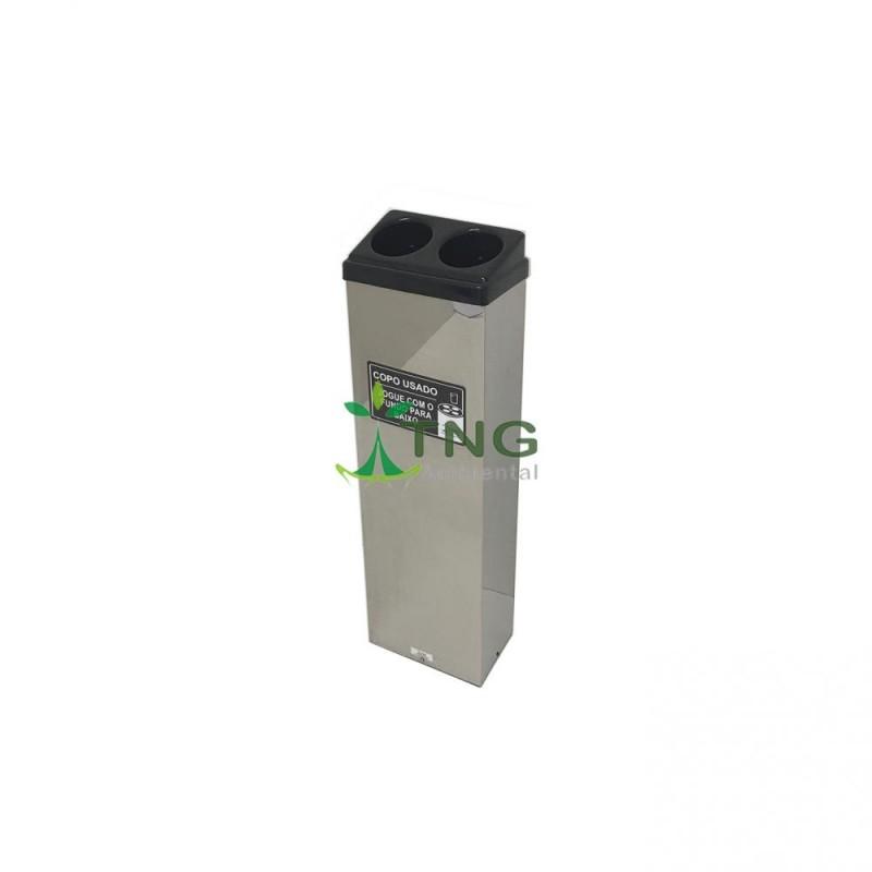 Coletor de copos em aço inox com 2 aberturas