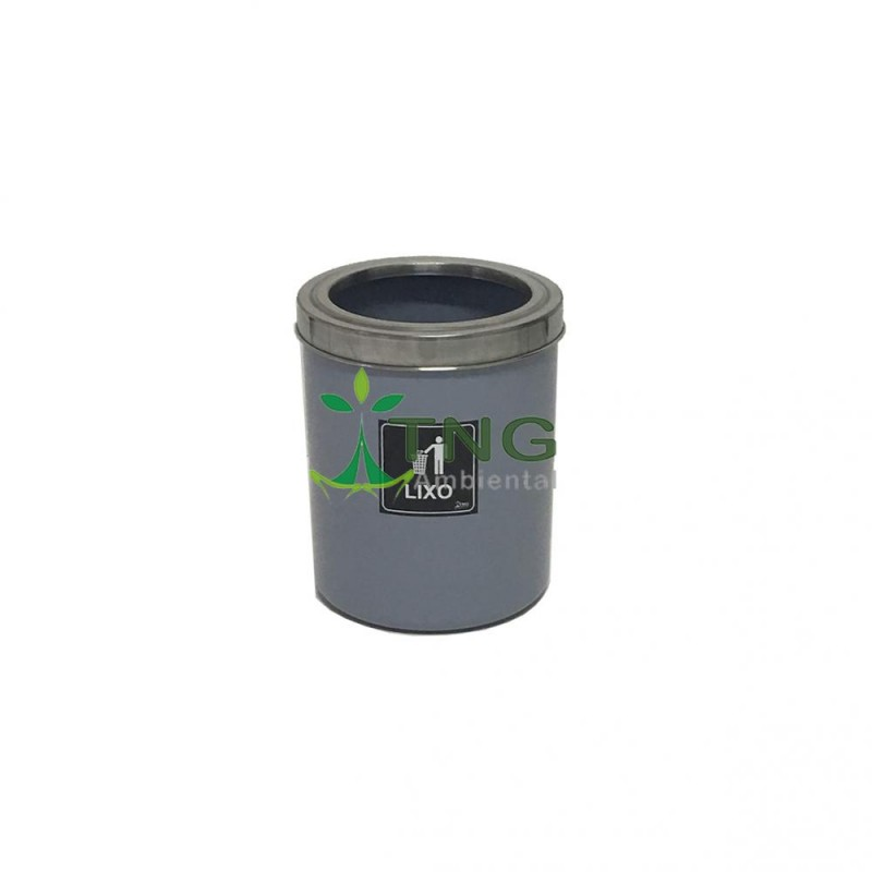 Lixeira 15 litros em plástico com aro em aço inox