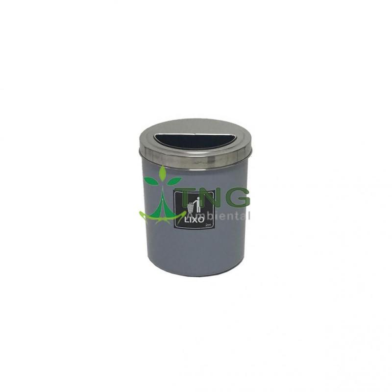 Lixeira 15 litros em plástico com tampa meia-lua em aço inox