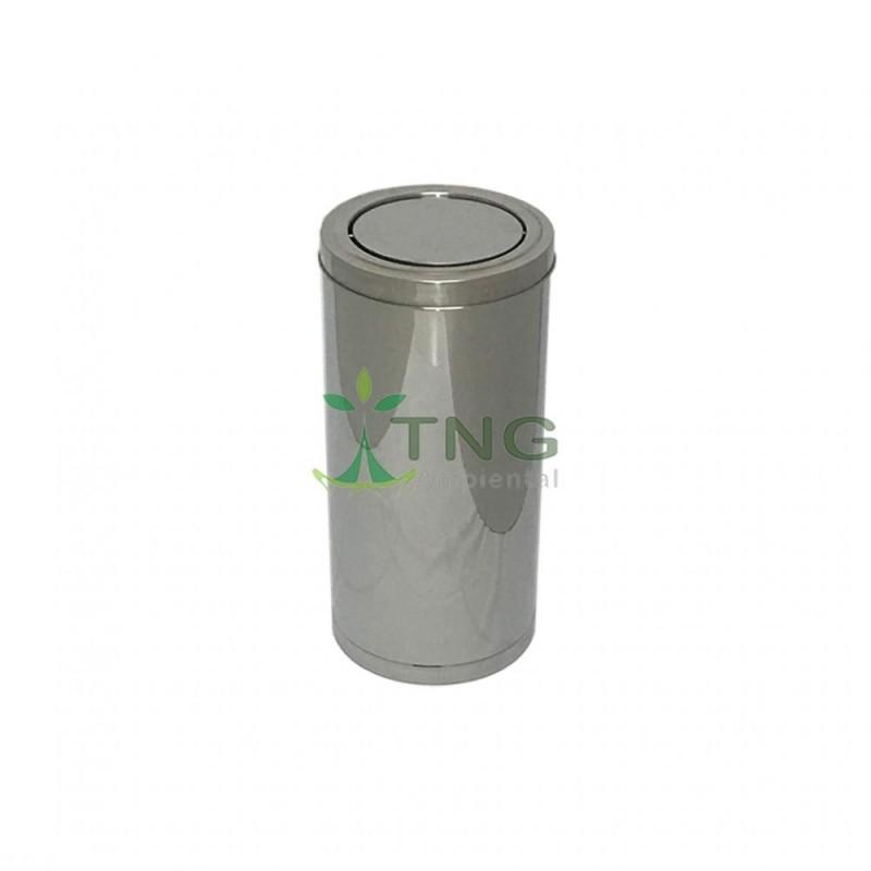 Lixeira 50 litros em aço inox com tampa flip-top