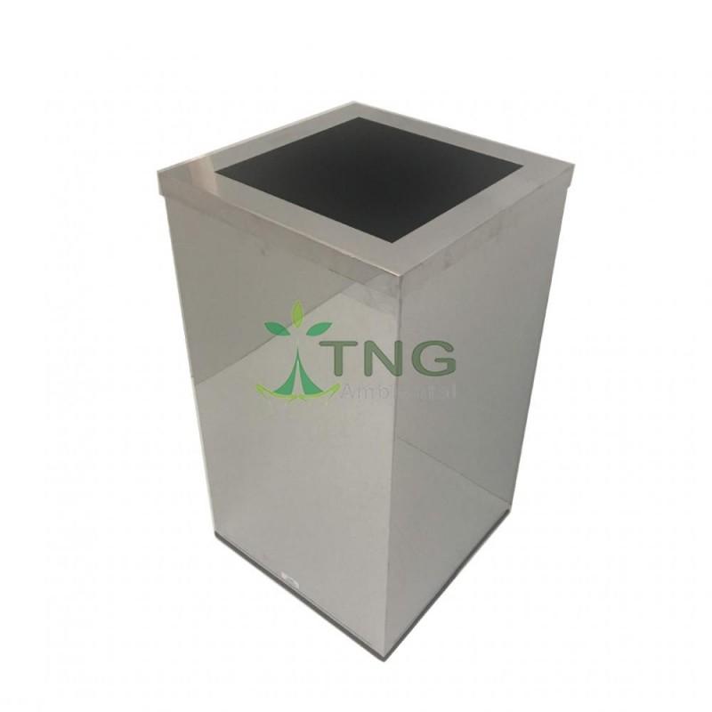 Lixeira 100 litros em aço inox quadrada com aro