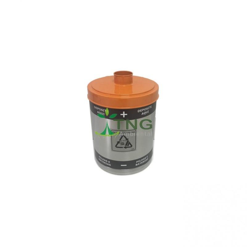 Coletor de pilhas 15 litros em aço inox