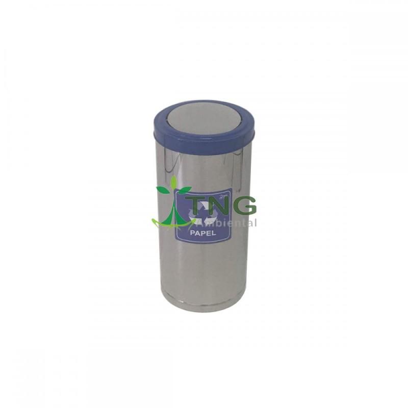 Lixeira 75 litros em aço inox com tampa flip-top colorida