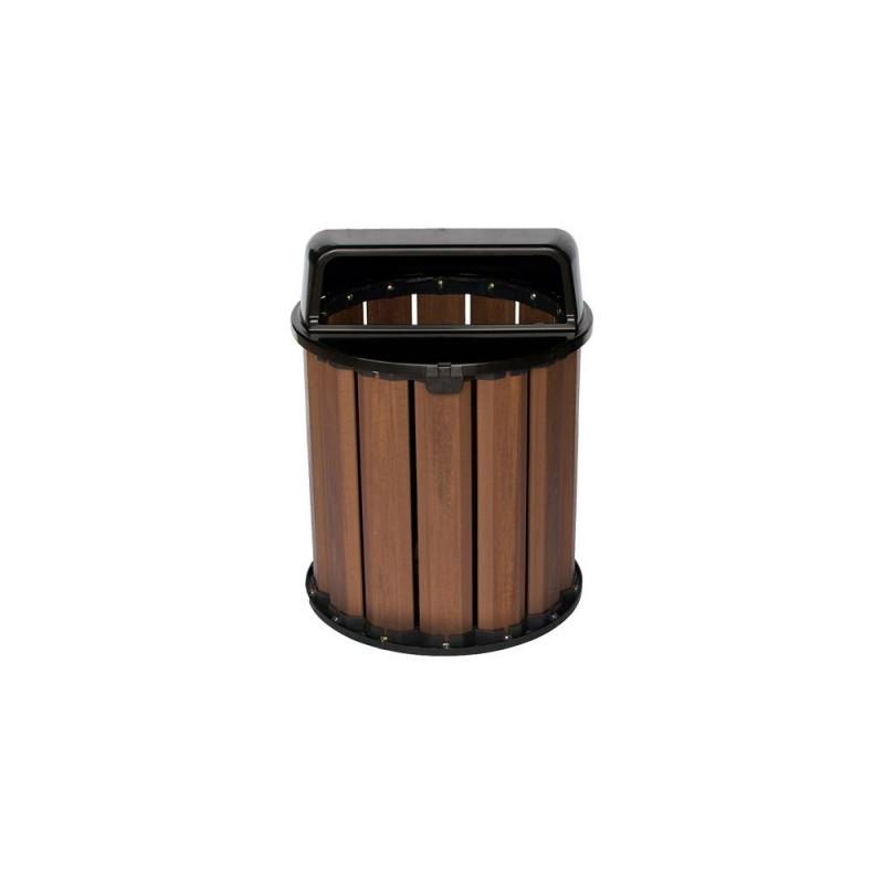 Lixeira 67 litros em madeira plástica com tampa