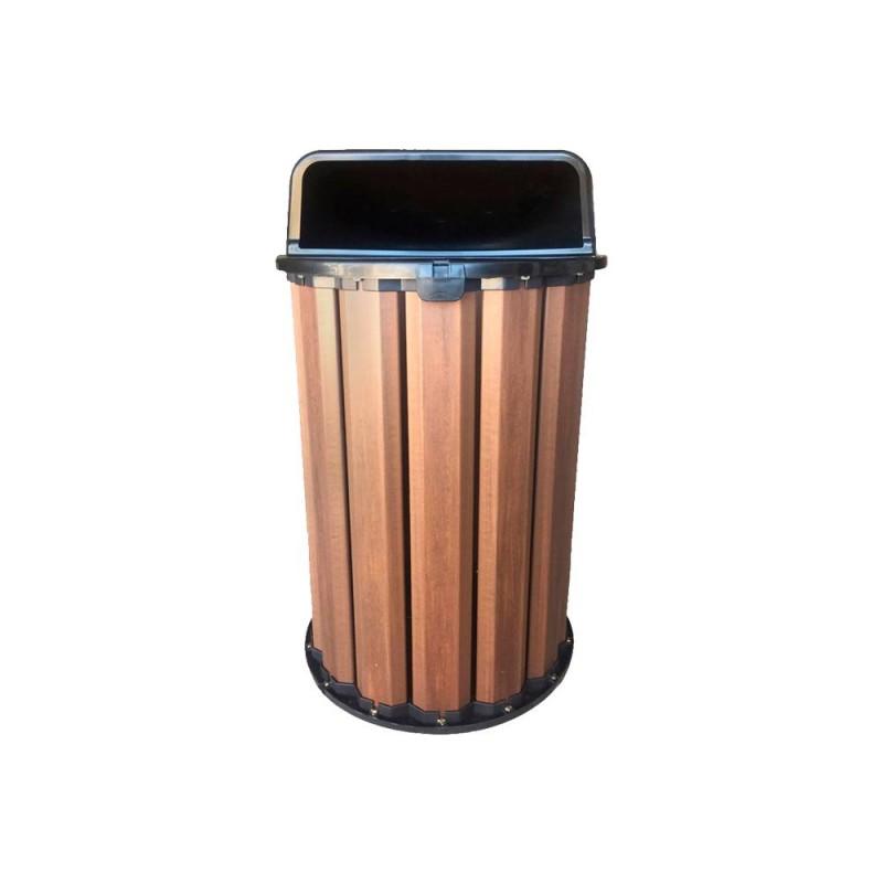 Lixeira 94 litros em madeira plástica com tampa