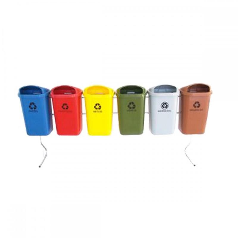 Conjunto com 06 lixeiras para coleta seletiva com abertura frontal 50 litros cada