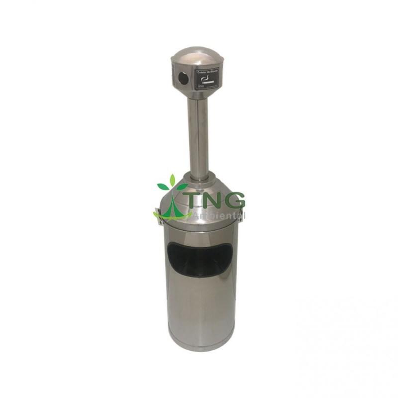 Bituqueira com lixeira de 20 litros em aço inox