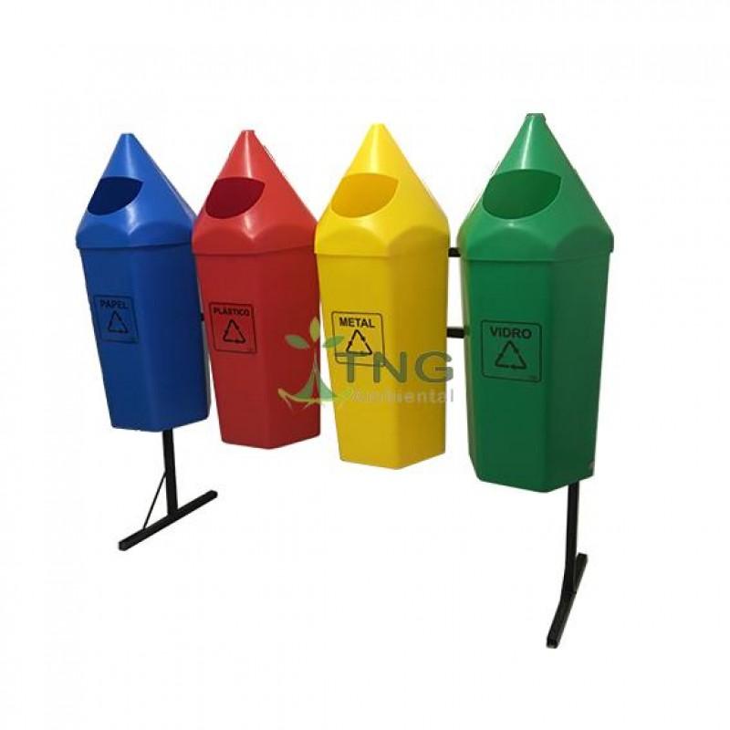 Conjunto com 04 lixeiras para coleta seletiva em plástico modelo lápis