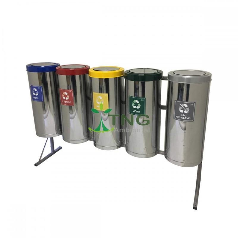 Conjunto com 05 lixeiras para coleta seletiva em aço inox 75 litros