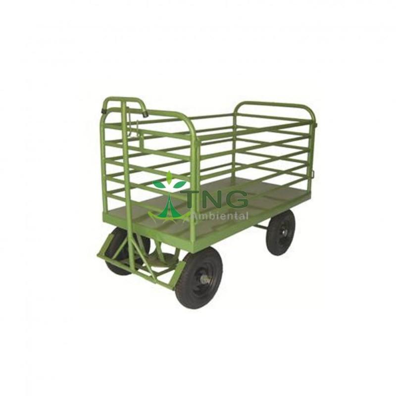 Carro plataforma tubular com rodas pneumáticas