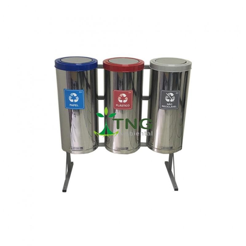 Conjunto com 03 lixeiras para coleta seletiva em aço inox 25 litros cada