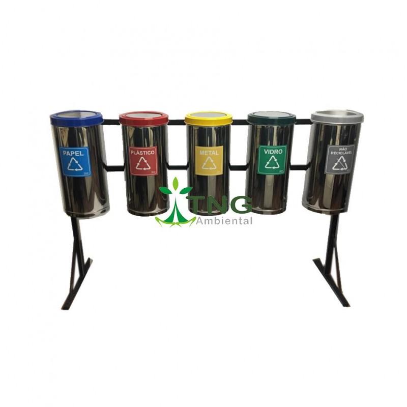 Conjunto com 06 lixeiras coleta seletiva em aço inox 25 litros cada