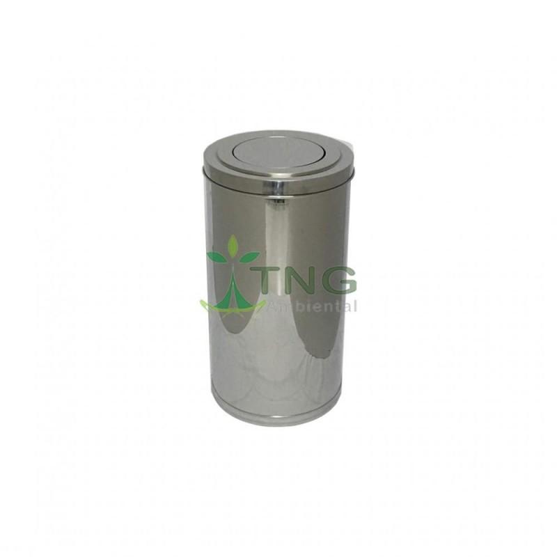 Lixeira 90 litros em aço inox com tampa flip-top