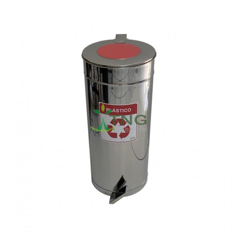 Lixeira 50 litros em aço inox com pedal e balde interno para coleta seletiva