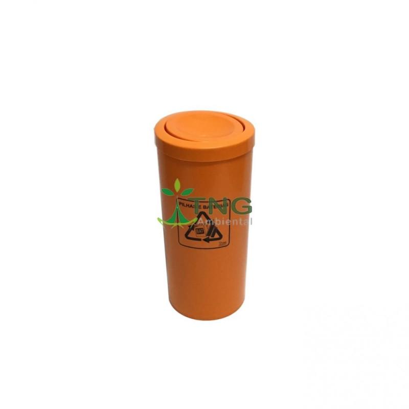Coletor de pilhas 25 litros em plástico com tampa flip-top