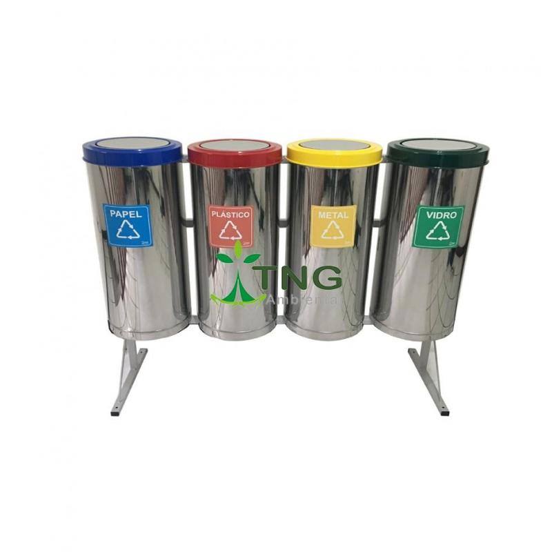 Conjunto coleta seletiva com 04 lixeiras em aço inox 75 litros