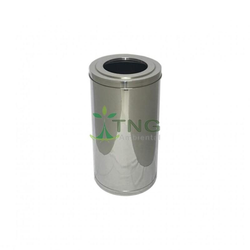 Lixeira 85 litros em aço inox com aro
