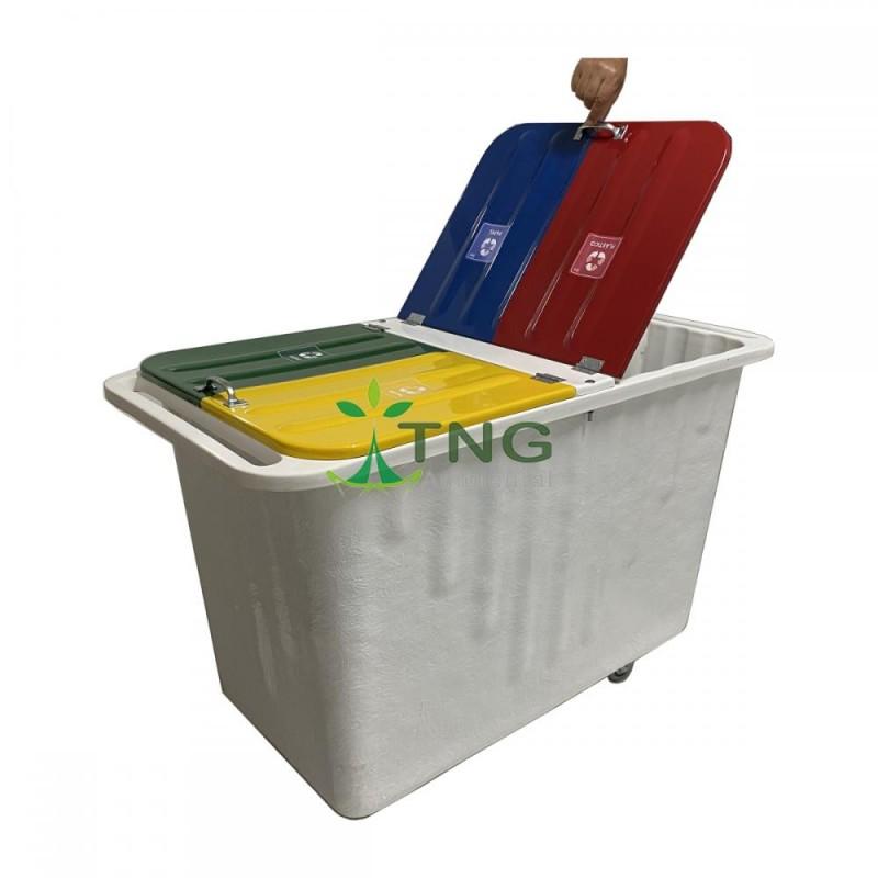 Container 430 litros em fiberglass com 04 divisórias