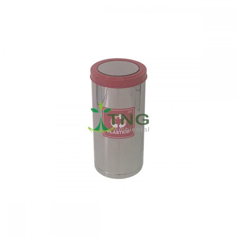 Lixeira 90 litros em aço inox com tampa flip top colorida