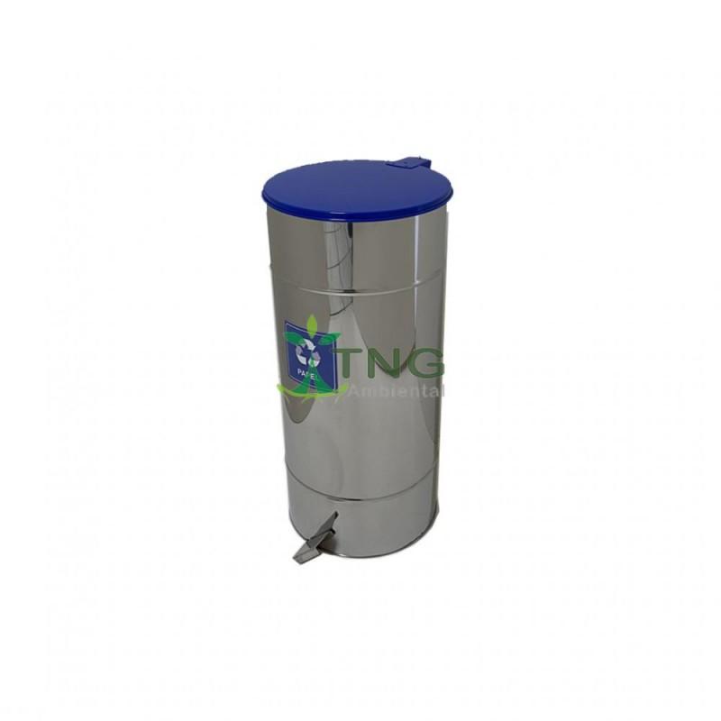 Lixeira 25 litros em aço inox com pedal e balde interno