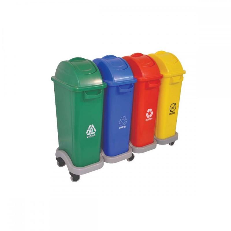 Conjunto coleta seletiva com 04 lixeiras em plástico 50 litros cada